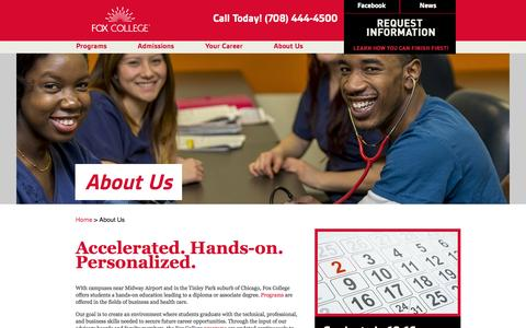 Screenshot of About Page foxcollege.edu - Fox College: Associate Degree and Diploma Programs in Business, Technology, Health Care - captured Sept. 30, 2014