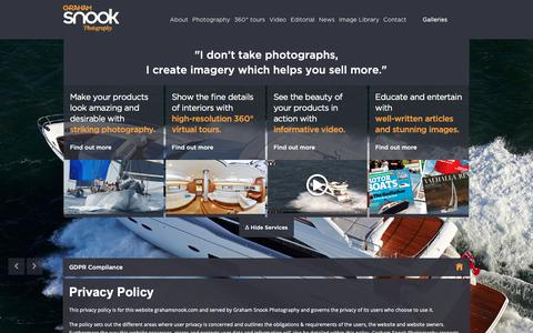 Screenshot of Privacy Page grahamsnook.com - GDPR Compliance  |  Graham Snook Photography | Yachting, Sailing, Marine, Advertising and Editorial Photography - captured Dec. 19, 2018