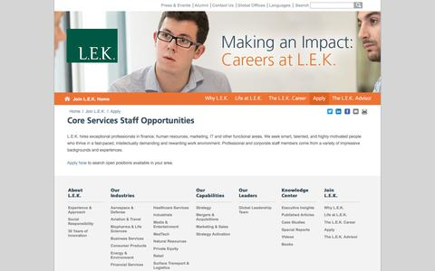 Core Services, HR, Recruiting, Marketing, Legal, Etc. | L.E.K. Consulting