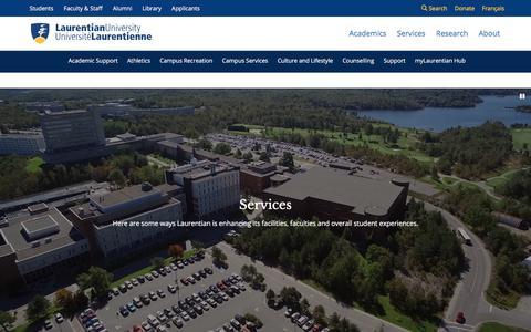 Screenshot of Services Page laurentian.ca - Laurentian University | Services - captured Sept. 23, 2018