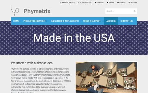 Screenshot of About Page phymetrix.com - About - Phymetrix - captured July 30, 2017