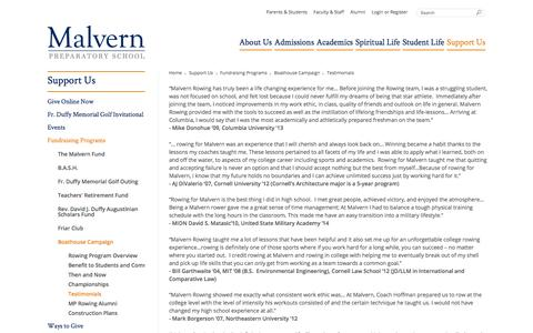 Screenshot of Testimonials Page malvernprep.org - Support - Fundraising Programs- Boathouse Campaign - Testimonials - Malvern Preparatory School - captured Feb. 4, 2016