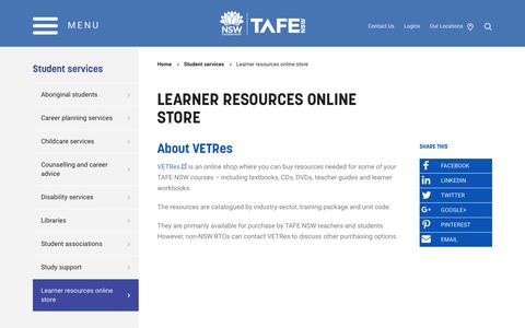 Learner resources online store - TAFE