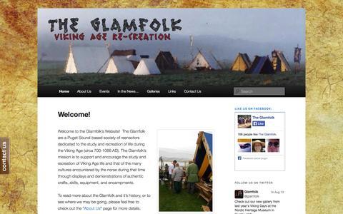 Screenshot of Home Page glamfolk.com - The Glamfolk   Viking Age Reenactment - captured Oct. 2, 2014