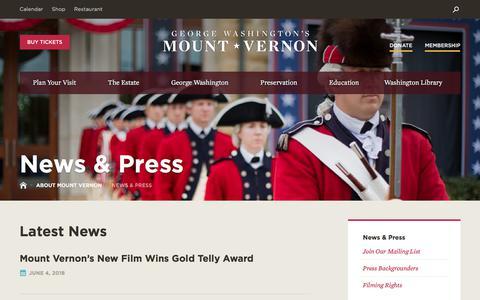 Screenshot of Press Page mountvernon.org - News & Press·George Washington's Mount Vernon - captured June 9, 2018