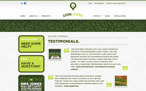 Screenshot of Testimonials Page lionlawns.co.uk - Testimonials - Lion Lawns - captured Oct. 1, 2014