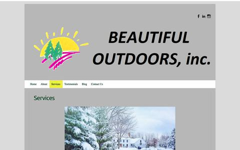 Screenshot of Services Page beautifuloutdoors.com - Beautiful Outdoors Inc - Landscape Company Services - captured Oct. 5, 2018