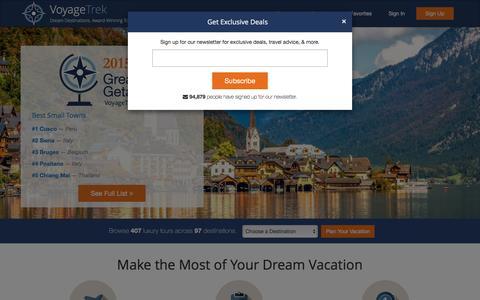 Screenshot of Home Page voyagetrek.com - Best Tours From Top Travel Companies & Guides | VoyageTrek - captured Feb. 4, 2016