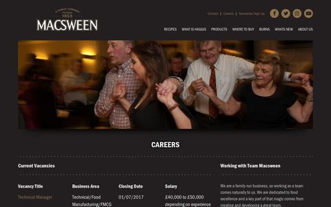 Screenshot of Jobs Page macsween.co.uk - Macsween | Careers - captured Oct. 4, 2017