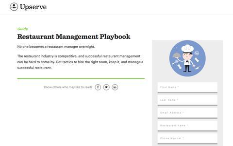 Screenshot of Landing Page upserve.com - Become A Restaurant Manager Playbook | Upserve - captured Sept. 13, 2017