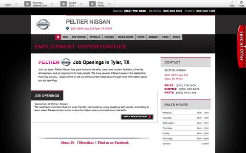 Screenshot of Jobs Page peltiernissan.net - Careers | Automotive Careers in Tyler, Texas - captured Oct. 2, 2014