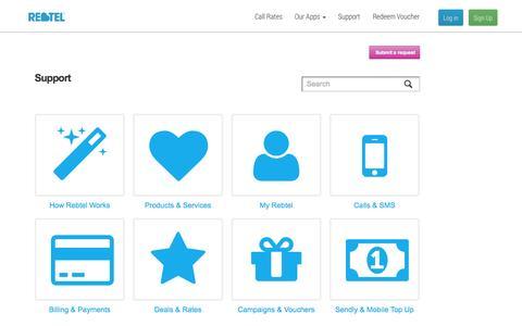 Screenshot of Support Page rebtel.com - Get help using Rebtel - captured Sept. 17, 2014