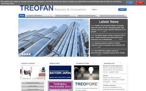 Screenshot of Home Page treofan.com - Treofan Group - captured Feb. 25, 2016