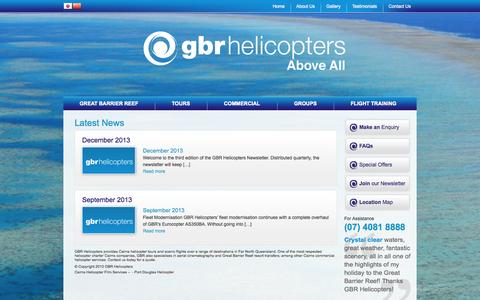 Screenshot of Blog gbrhelicopters.com.au - Blog - Latest News & Specials  | GBR Helicopters Cairns - captured Oct. 3, 2014