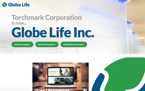 Screenshot of Home Page torchmarkcorp.com - Torchmark Corporation is now Globe Life - captured Aug. 11, 2019