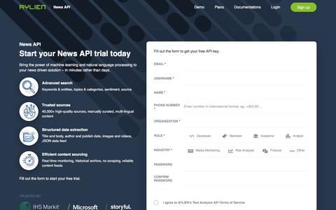 Screenshot of Signup Page aylien.com - News API | Analyze news content at scale - captured July 18, 2019