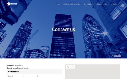 Screenshot of Contact Page rankno1.co.uk - Contact Us - SEO Company Rank No.1 - captured Jan. 17, 2016