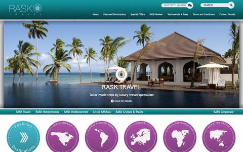 Screenshot of Home Page rasktravel.com - Travel Agency for Luxury Holidays and Business Travel : RASK Travel - captured Sept. 30, 2014