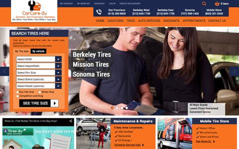 Screenshot of Home Page carcare-2u.com - CarCare-2u - Tires, brakes and auto repair in the Bay Area - captured Oct. 11, 2015