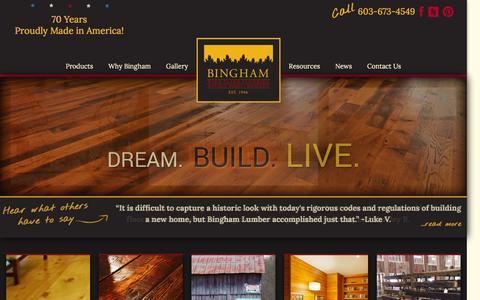 Screenshot of Home Page binghamlumber.com - Bingham Lumber | Wide Plank Flooring | Antique Wood | Wainscot - captured April 15, 2016