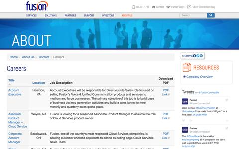 Screenshot of Jobs Page fusionconnect.com - Fusion Careers | Fusion (FSNN) - captured May 10, 2017