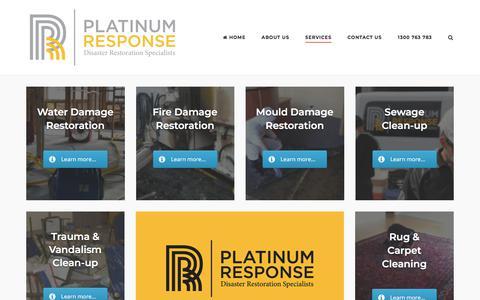 Screenshot of Services Page platinumresponse.com.au - Services - Platinum Response - captured July 19, 2018