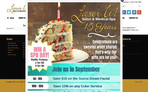 Screenshot of Press Page laser-it.ca - Uncategorized | Laser It Salon & Medical Spa | Windsor | waxing | manicure | massage - captured Sept. 27, 2018