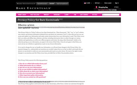 Screenshot of Privacy Page bareescentuals.com - Global Privacy Policy - captured Sept. 18, 2014