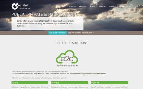 Screenshot of Services Page ecritel.fr - Public, private & hybrid cloud - Ecritel France, Paris: managed hosting (e-commerce/web). Cloud. CDN. Dedicated server. - captured April 3, 2017