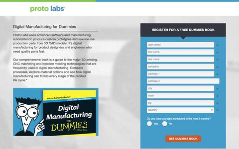 Screenshot of Landing Page protolabs.com - Register to receive a free Digital Manufacturing for Dummies book - captured Aug. 23, 2016