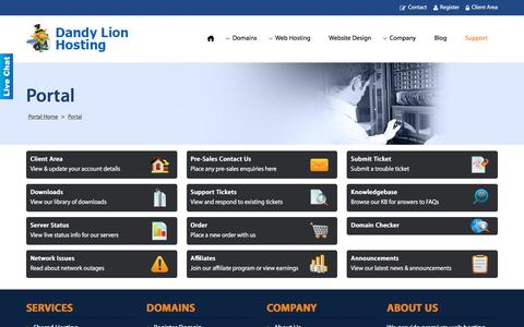 Screenshot of Support Page dandylionhosting.com - Support Portal ~ Everything you need to manage your service & request support - captured June 3, 2017