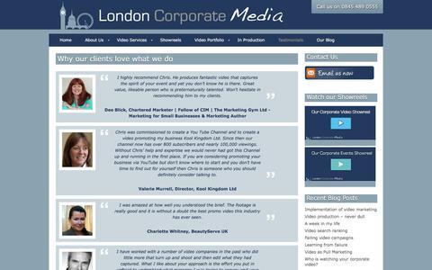 Screenshot of Testimonials Page londoncorporatemedia.co.uk - Testimonials for London Corporate Media - Web videos in Surrey - captured July 17, 2016