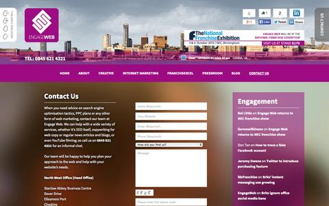 Screenshot of Contact Page engageweb.co.uk - Contact Us   Engage Web - captured Sept. 23, 2014