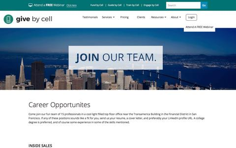 Screenshot of Jobs Page givebycell.com - Career Opportunities - captured July 19, 2018