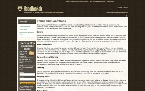Screenshot of Terms Page hobohookah.com - Hobo Hookah Terms and Conditionjs - captured Oct. 22, 2014