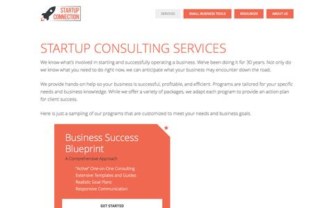 Screenshot of Services Page startupconnection.net - Startup Consulting Services - Startup Connection - captured Feb. 17, 2016