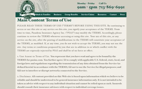 Screenshot of Terms Page pasins.com - Pasadena Insurance Agency, Inc. > Contact > Terms of Use - captured Jan. 25, 2016