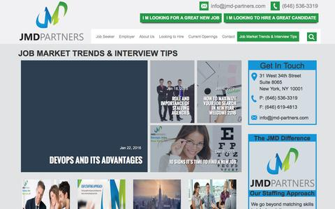 Screenshot of Blog jmd-partners.com - Job Market Trends & Interview Tips Midtown Manhattan in New York, NY - captured Feb. 4, 2016