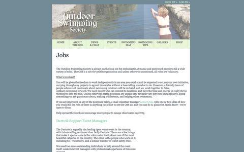 Screenshot of Jobs Page outdoorswimmingsociety.com - The Outdoor Swimming Society - Jobs - captured Sept. 30, 2014