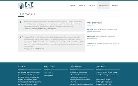 Screenshot of Testimonials Page evebuildingconsultancy.co.uk - Building Surveys – Eve Building Consultancy Ltd – Chartered Building Surveyors based in Gloucestershire - captured Oct. 3, 2014