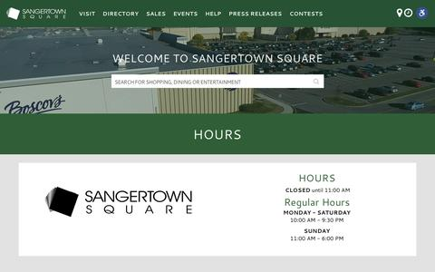 Screenshot of Hours Page sangertown.com - Hours – Sangertown Square - captured March 26, 2017