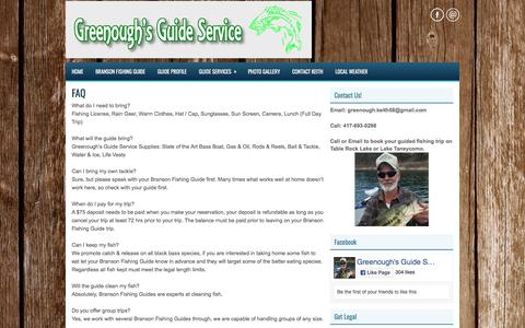 Screenshot of FAQ Page greenoughsguideservice.com - Branson Fishing Guide - Table Rock and Taneycomo Fishing Guide Service - captured July 3, 2018