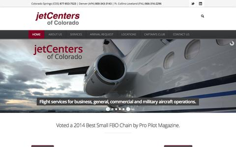 Screenshot of Home Page jetcenters.com - jetCenters of Colorado - Best FBO - Denver FBO - Best FBO in ColoradojetCenters of Colorado - captured Oct. 6, 2014