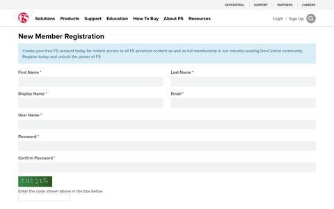 Screenshot of Signup Page f5.com - Register - captured April 7, 2017