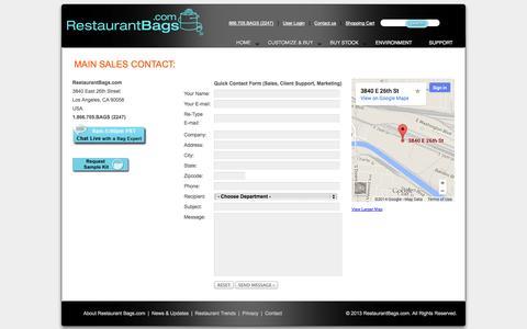 Screenshot of Contact Page restaurantbags.com - Contact Information - captured Oct. 8, 2014