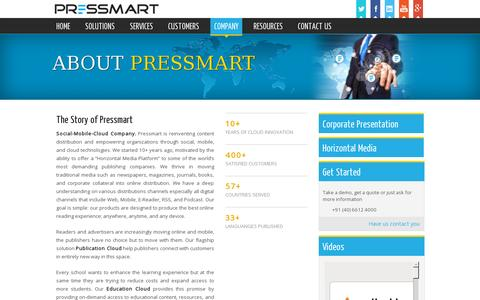 Screenshot of About Page pressmart.com - Electronic Publishing (e-Publishing): Pressmart, the best in e Publishing Companies - captured July 20, 2014