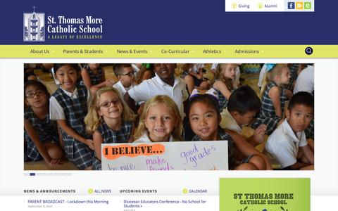 Screenshot of Home Page stmbr.org - St. Thomas More School - captured Sept. 4, 2015