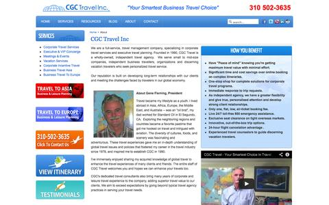 Screenshot of About Page cgctravel.com - Independent Travel Agency Full Service Corporate and Luxury Vacations Expert Personalized Service - captured Sept. 26, 2014