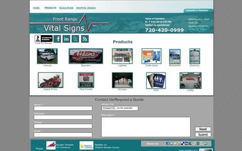 Screenshot of Products Page frontrangevitalsigns.com - Products from Front Range Vital Signs - Boulder, Longmont, Louisville, CO - captured Sept. 30, 2014