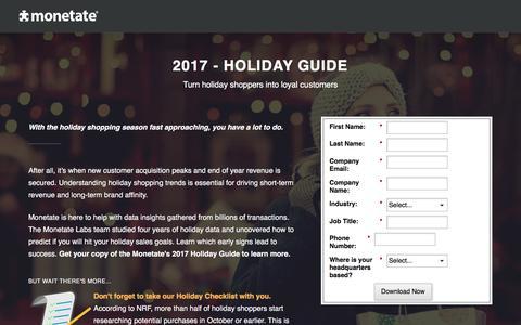 Screenshot of Landing Page monetate.com - 2017 - Holiday Guide | Monetate - captured Oct. 24, 2017
